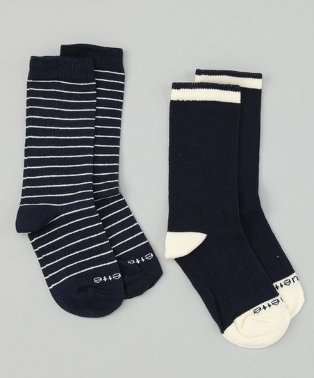 Estate Blue & Panna Cotta Ecru Happy Stripe Socks Set