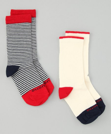 Estate Blue & Fire Red Sailor Stripe Socks Set