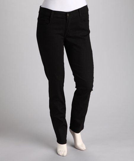 Black Five-Pocket Plus-Size Skinny Jeans