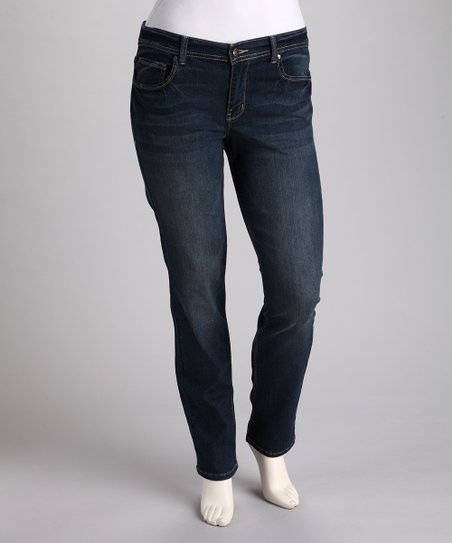 Dark Stone-Wash Plus-Size Skinny Jeans