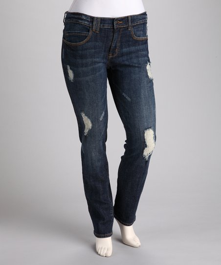 Distressed Plus-Size Straight-Leg Jeans