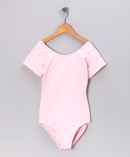 Light Pink Short-Sleeve Leotard - Toddler & Girls