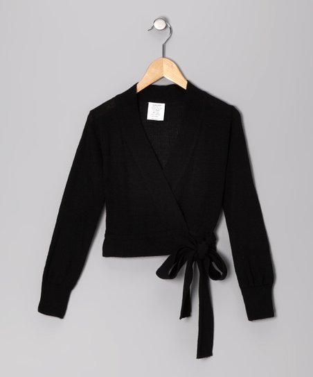 Black Wrap Sweater - Girls