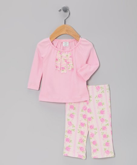 Pink Trellis Rose Ruffle Top & Pants - Infant