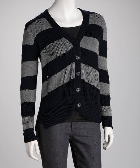 Navy & Gray Stripe Shirttail Cardigan