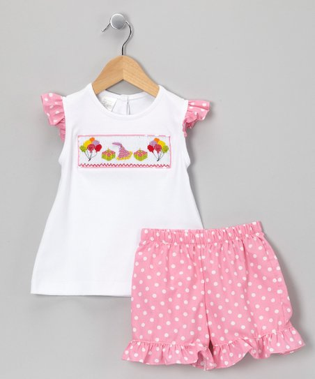 White & Pink Polka Dot Birthday Top & Shorts - Infant