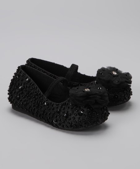 Black Flower Puff Flat