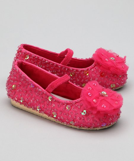 Hot Pink Flower Puff Flat