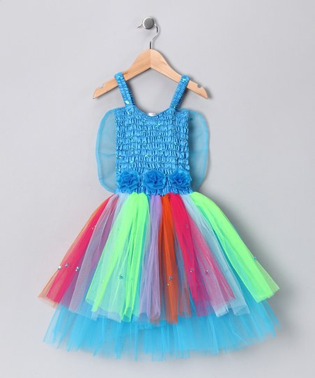 Turquoise Rainbow Ava Dress - Girls