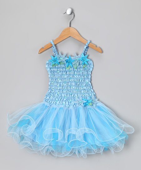 Light Blue Flora Dress - Toddler & Girls