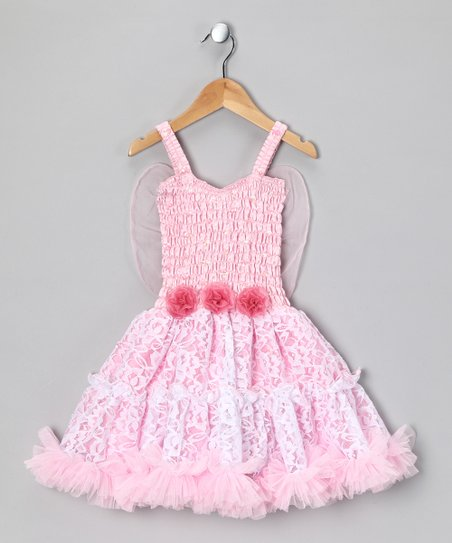 Light Pink & White Lacey Dress - Girls