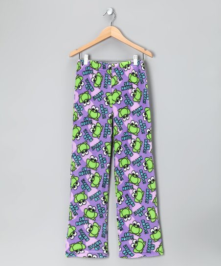 Purple & Green Frogs Pajama Pants - Girls
