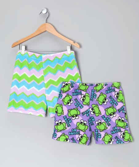 Purple &amp; Green Boxers Set - Girls