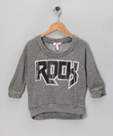 Gray Lace 'Rock' Sweatshirt - Girls