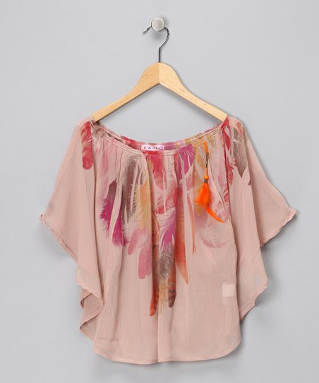 Blush Chiffon Feather Poncho