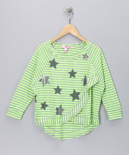 Fang Neon Green Star Tee - Girls