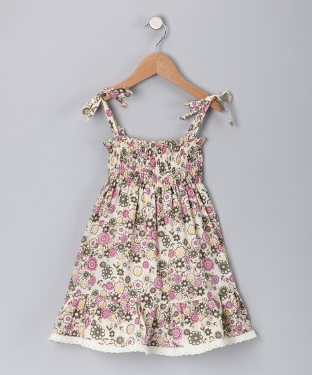 Fuchsia Floral Tie Dress - Toddler & Girls