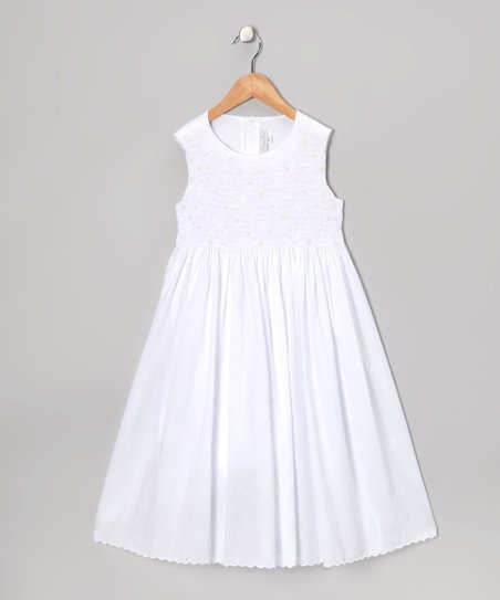 White Smocked Pearl Scallop Dress - Girls