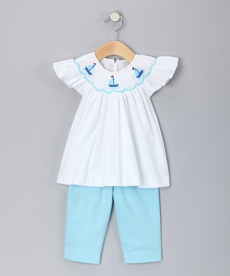 White Sailboat Smocked Top & Aqua Pants - Infant
