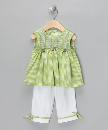 Lime Smocked Swing Top & White Pants - Infant