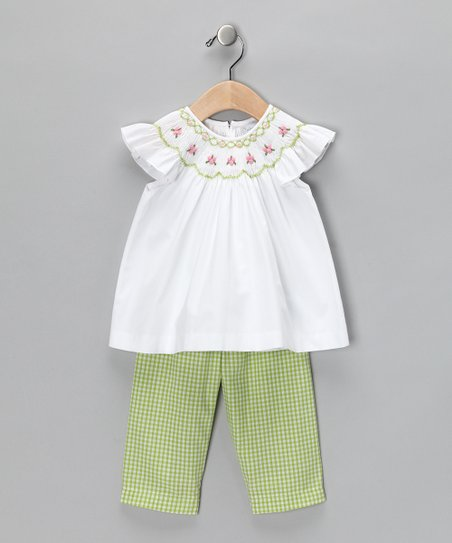 White &amp; Lime Green Angel-Sleeve Top &amp; Pants - Infant