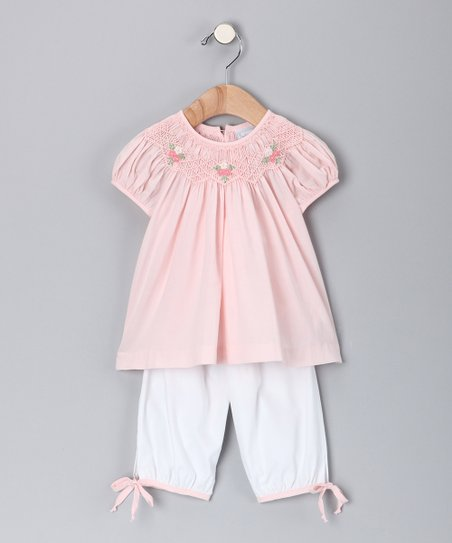 Pink Rose Smocked Top & White Pants - Infant