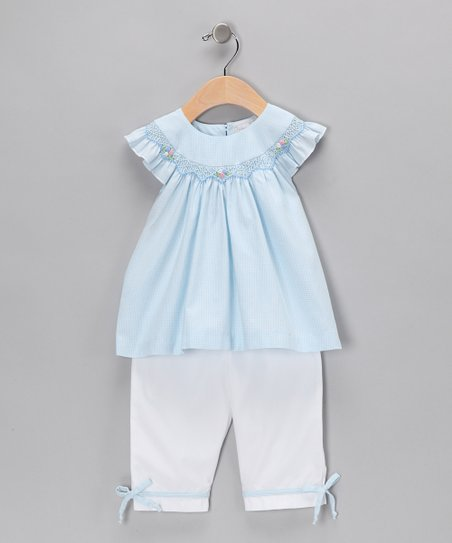 Blue Gingham Angel-Sleeve Top & Pants - Infant