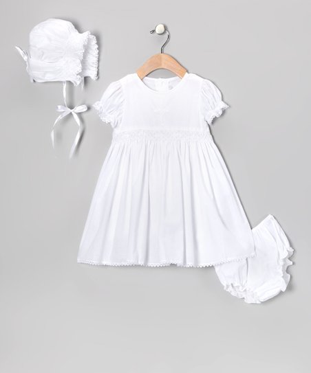 White Smocked Cross Christening Dress Set - Infant