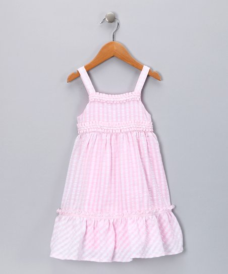Pink Seersucker Ruffle Babydoll Dress - Toddler