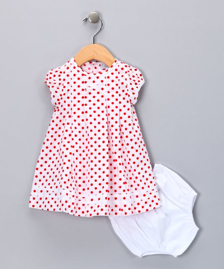 Red Polka Dot Dress & Diaper Cover - Infant