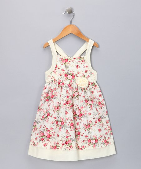 Pink &amp; Ivory Rosette Dress - Infant, Toddler &amp; Girls