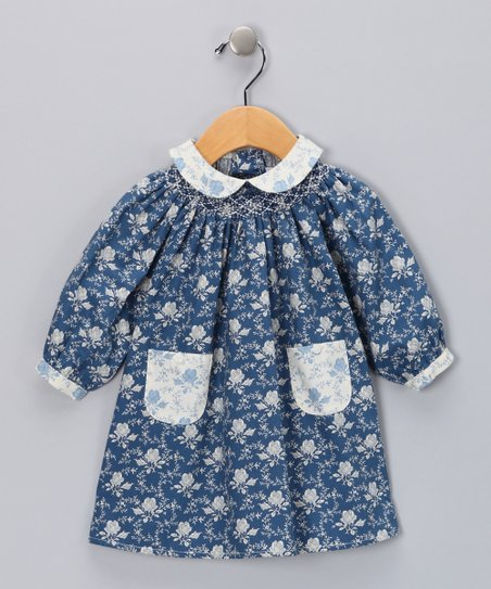 Blue Floral Pocket Dress - Infant