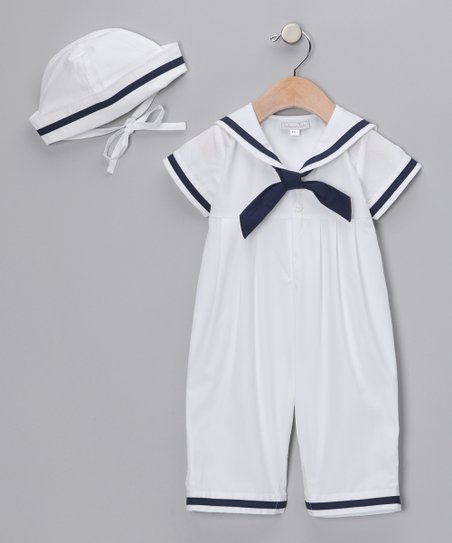 White Sailor Playsuit &amp; Cap - Infant