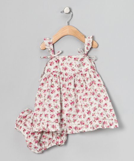 Gray Floral Tie Dress & Diaper Cover - Infant & Toddler