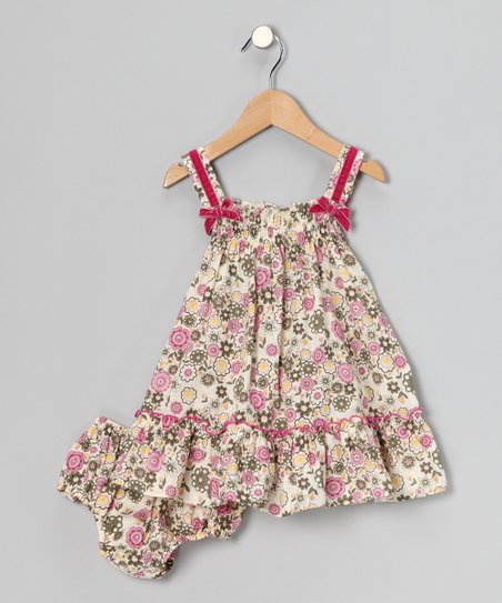 Fuchsia Floral Bow Dress & Diaper Cover - Infant