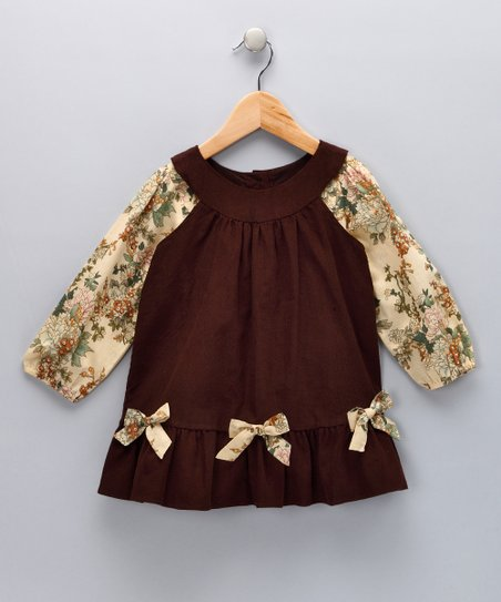 Brown Floral Top & Corduroy Jumper - Toddler & Girls