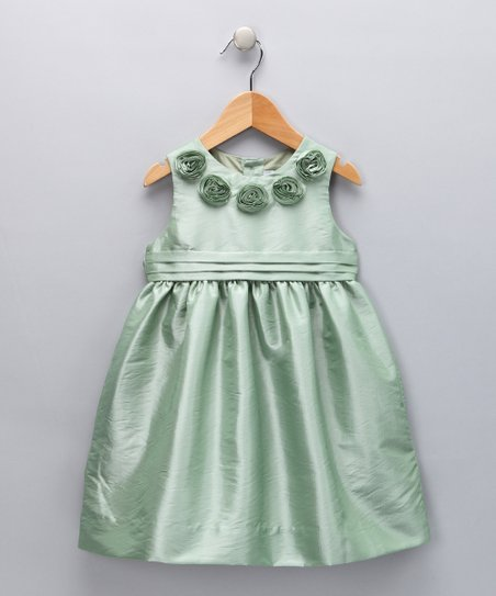 Mint Rosette A-Line Dress - Infant, Toddler & Girls