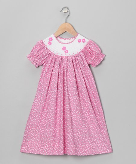 Pink Flower Bishop Dress - Infant