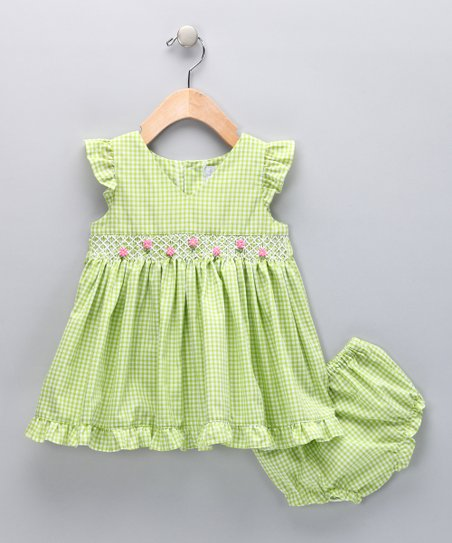 Green & Pink Gingham Smocked Dress - Infant