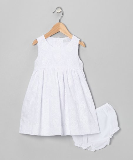 White Rose A-Line Dress & Diaper Cover - Infant & Toddler