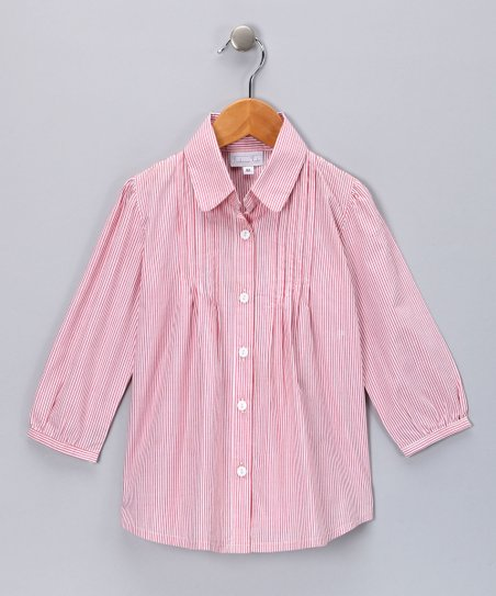 Red Stripe Pleated Button-Up - Girls