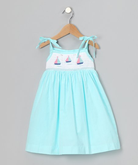 Aqua Sailboat Smocked Tie Dress - Infant