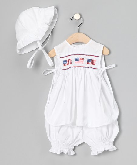 White Patriotic Pinafore Set - Infant