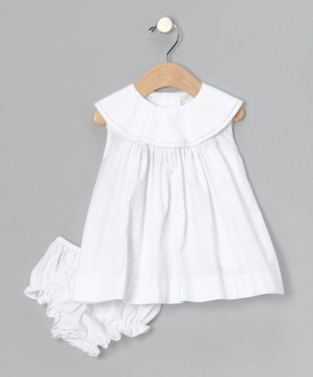 White Yoke Dress & Diaper Cover - Infant