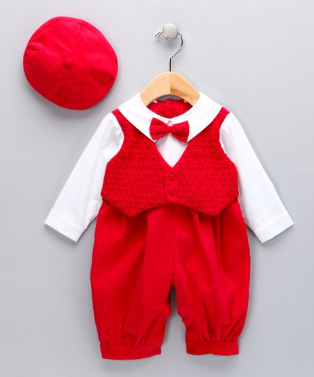 Red Tuxedo Playsuit & Hat - Infant