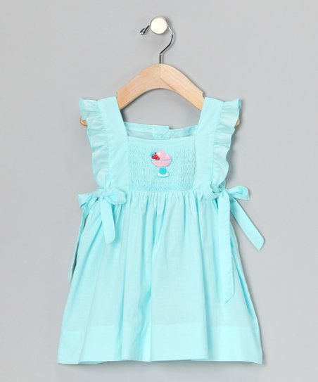 Aqua Ice Cream Smocked Ruffle Dress - Infant &amp; Toddler