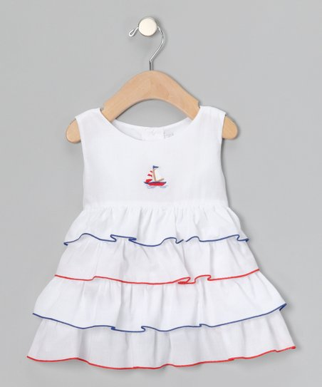 White &amp; Navy Sailboat Ruffle Dress - Infant