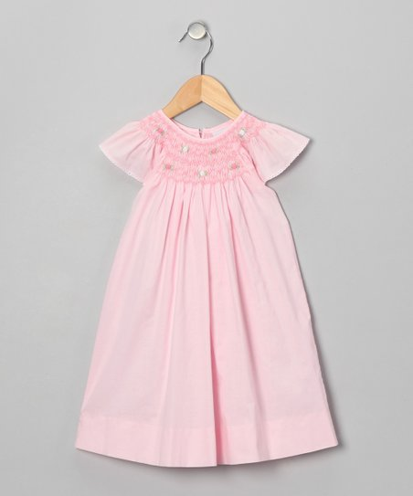 Pink Flower Angel-Sleeve Dress - Infant