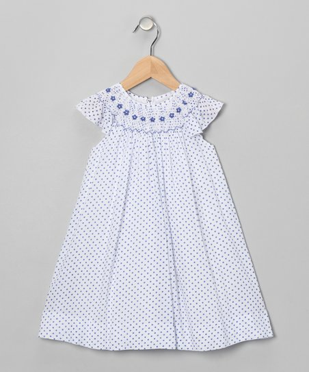 Navy Polka Dot Angel-Sleeve Dress - Infant & Toddler