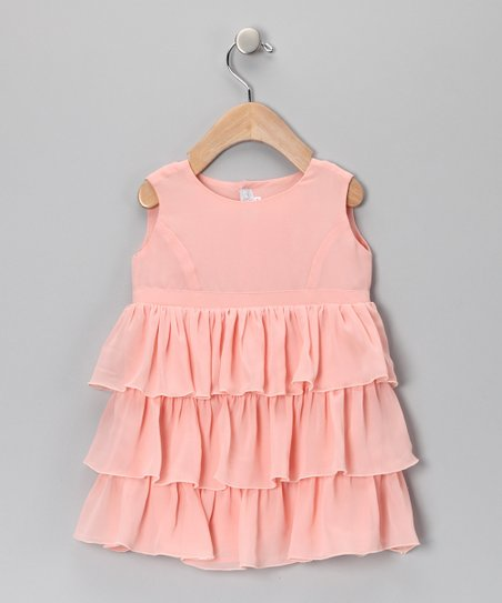 Peach Chiffon Ruffle Dress - Infant
